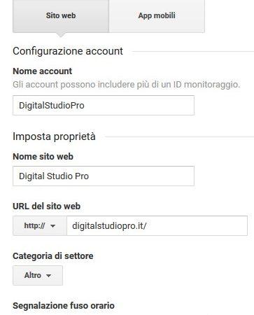 Schermata di esempio per la creazione di un account.